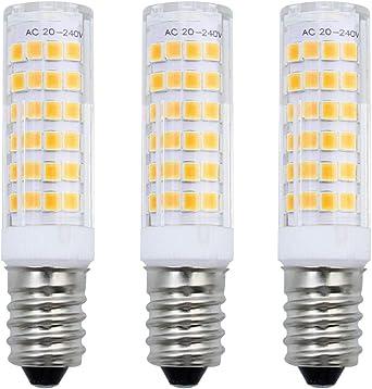 MZMing [3 Piezas] E14 Bombilla LED 7W Equivalente 50W Bombilla Halógena Blanco Cálido 3000K LED 680 Lúmen Bulbos de Campana Extractora AC220-240V No Regulable 75 SMD2835 Luz de Máquina de Coser SES: