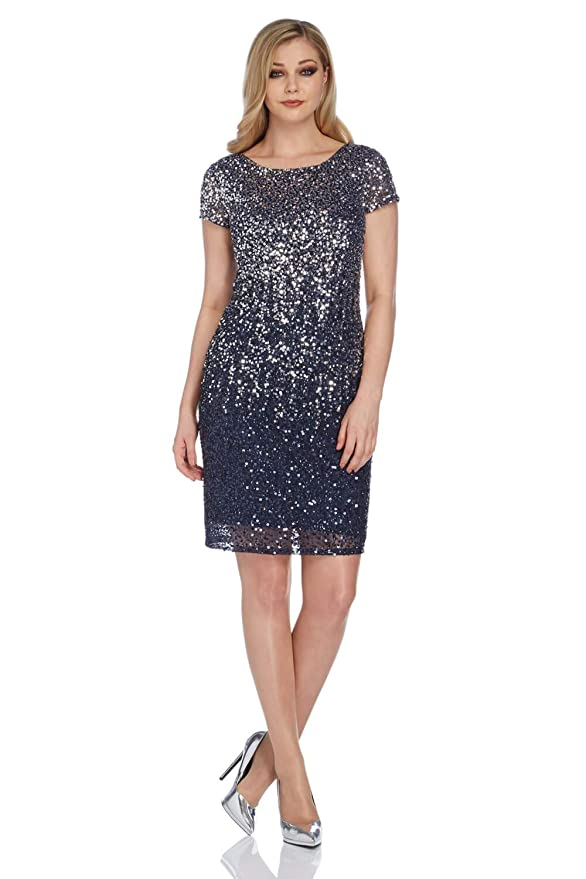 Roman Originals Womens Blue Ombre Sequin Shift Dress - Ladies Dresses for Special Formal Party Dance Dinners Ball Prom Occasion Evening Wear: Amazon.co.uk: ...