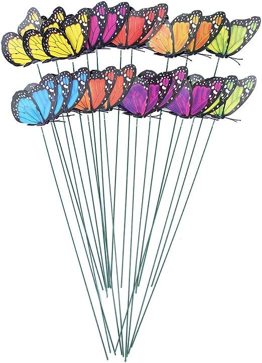 VOSAREA 24 unids Mariposas Jardin libélulas Coloridas Adornos para decoración de Planta Ornamento de jardín Exterior: Amazon.es: Hogar