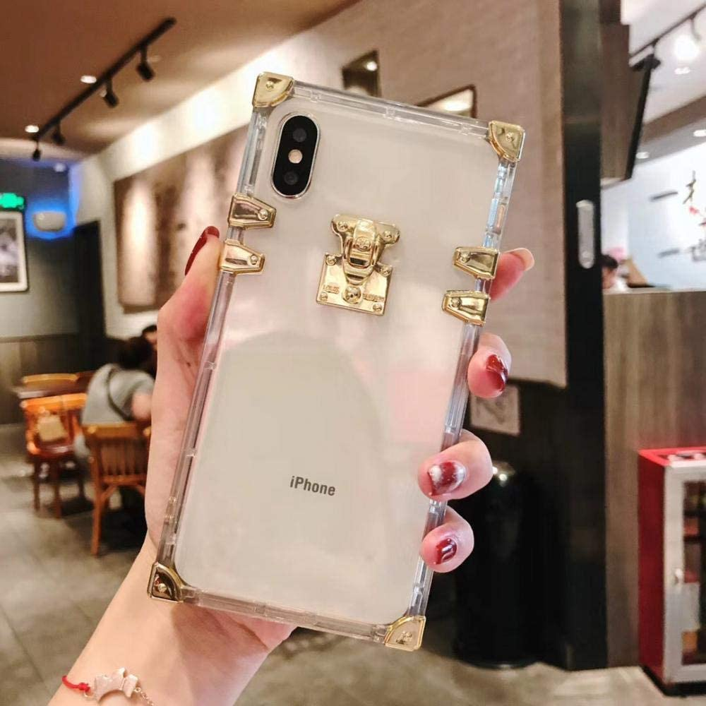 Fashion Square Clear TPU Case for iPhone X XS MAX XR Luxury Bling Metal Conch Pink Back Cover Case for iPhone 6 6s 7 8 Plus White for iPhone 7