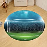 Gzhihine Custom round floor mat Sports Decor Soccer Goal Post Sports Area Winner Loser Line Floodlit Best Team Finals Game Gym Theme Bedroom Living Room Dorm Green and Blue