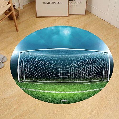 Gzhihine Custom round floor mat Sports Decor Soccer Goal Post Sports Area Winner Loser Line Floodlit Best Team Finals Game Gym Theme Bedroom Living Room Dorm Green and Blue by Gzhihine