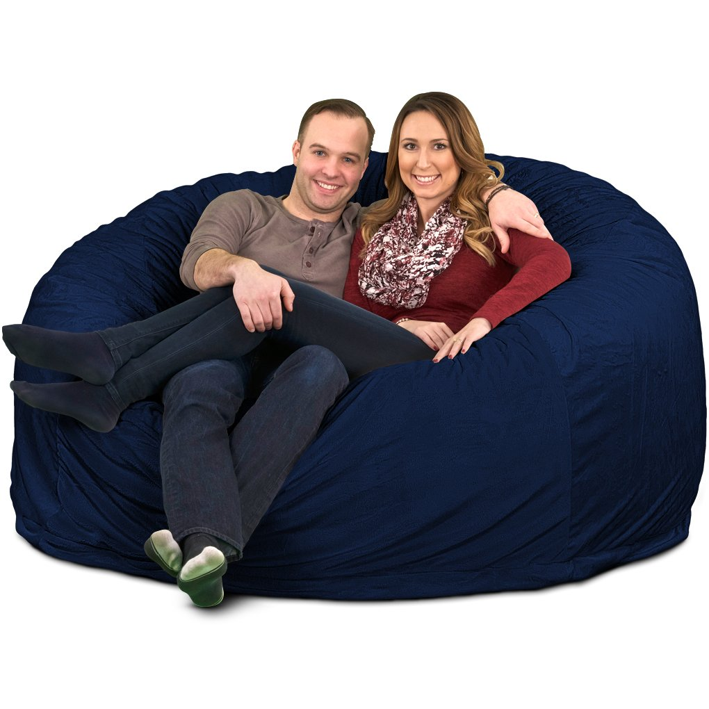 Ultimate Sack 6000 Bean Bag Chair: Giant Foam-Filled Furniture - Machine Washable Covers, Double Stitched Seams, Durable Inner Liner, and 100% Virgin Foam. Comfy Bean Bag Chair. (Navy, Fur)