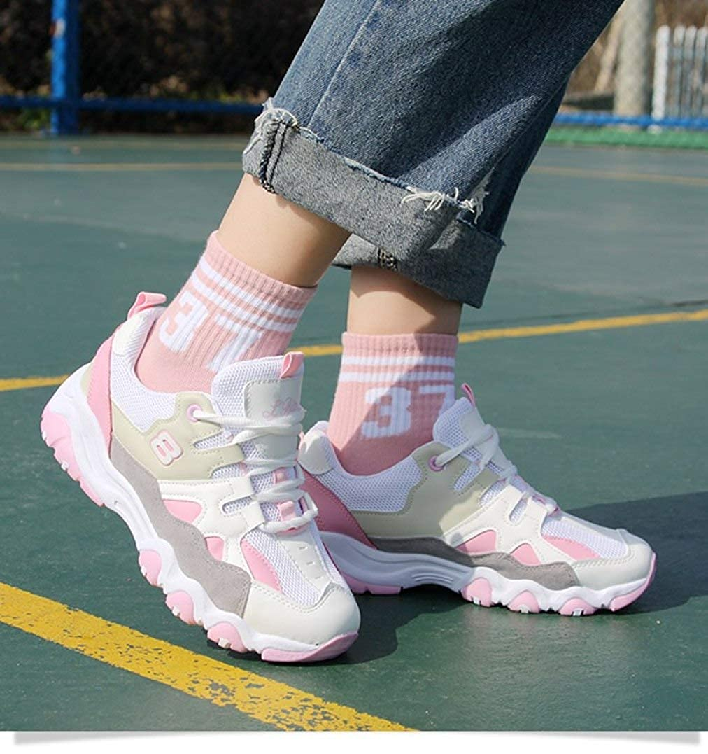 Zarbrina Womens Chunky Sneakers Dad Shoes Round Toe Lace Up Ladies Outdoor Workout Athletic Running Footwear