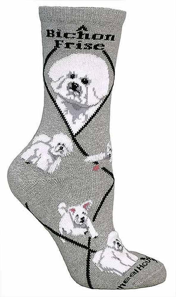 BichAnimal Socks On Animal Socks On Gray 9-11 by Wheel House Designs