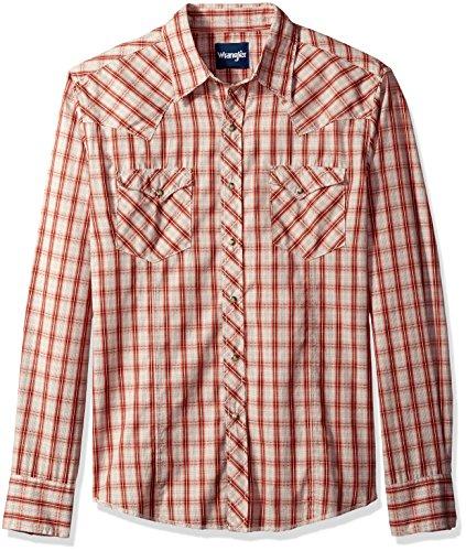 [해외]언쟁하는 남자의 격자 무늬 긴 소매 두 포켓 스냅 셔츠/Wrangler Men`s Plaid Long Sleeve Two Pocket Snap Shirt