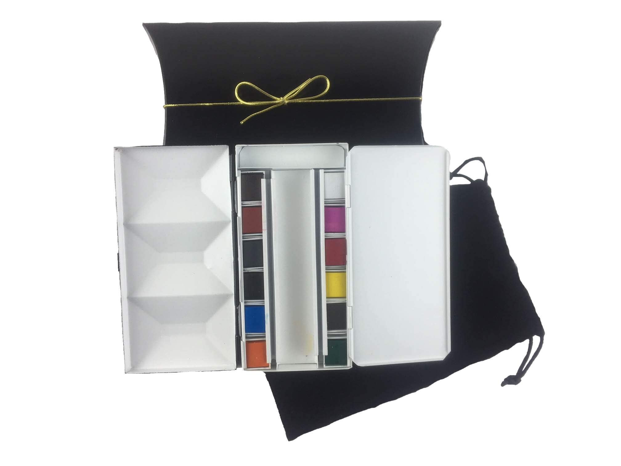 Whiskey Painters Artist Watercolor Art Travel Set of 12 Colors Folding Artist Metal Palette Box Complete Travel Set Hand Made in Italy