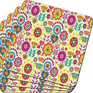 Rikki Knight Retro Multi Colored Flowers Design Soft Square Beer Coasters (Set of 2), Multicolor