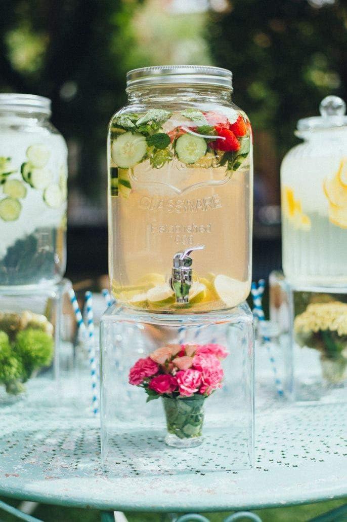 Glass Beverage Drink Dispenser With Leak Free Spigot, 2 Gallon,