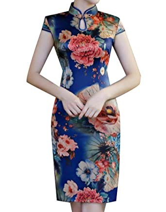 d80fbe5c84112 AngelSpace Women s Plus Size Fitted Floral Printed Chinese Qipao Dress Robe  at Amazon Women s Clothing store