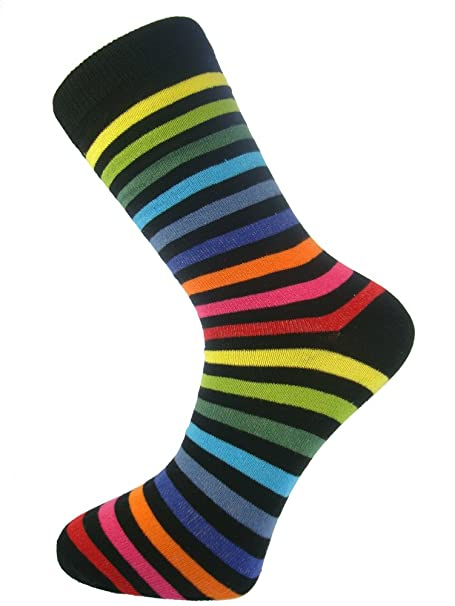 My Socks - Calcetines para hombre (algodón, cómodos, estilo casual y formal), diseño de rayas, color oscuro con rayas de colores variados: Amazon.es: Ropa y ...