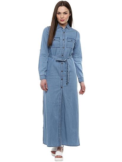 f8de2ee82ff StyleStone Women s Blue Denim Long Maxi Dress  Amazon.in  Clothing    Accessories
