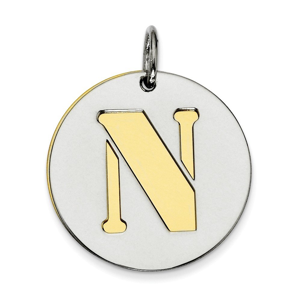 Perfect Jewelry Gift Sterling Silver GP Initial N Double Plate Round Charm