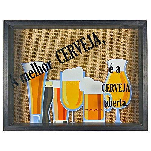 Quadro Decorativo Porta Tampinha Cerveja A Melhor Cerveja - ArtFrame