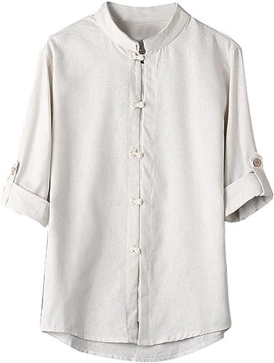 Camisas de Hombres, Dragon868 Blusa de Lino Chino clásico del Estilo 3/4 de la Manga para los Hombres: Amazon.es: Ropa y accesorios