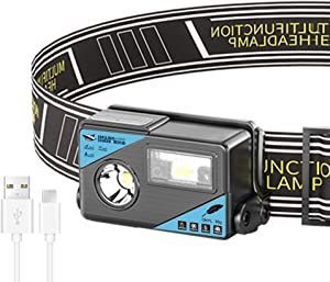 Smiling Shark USB Rechargeable LED Headlamp Flashlight, Motion Sensor for 5 Modes, Bright 1000 High Lumens, Elastic Headband, Perfect Headlight for Outdoor Running, Hiking, Camping, Walking Dog