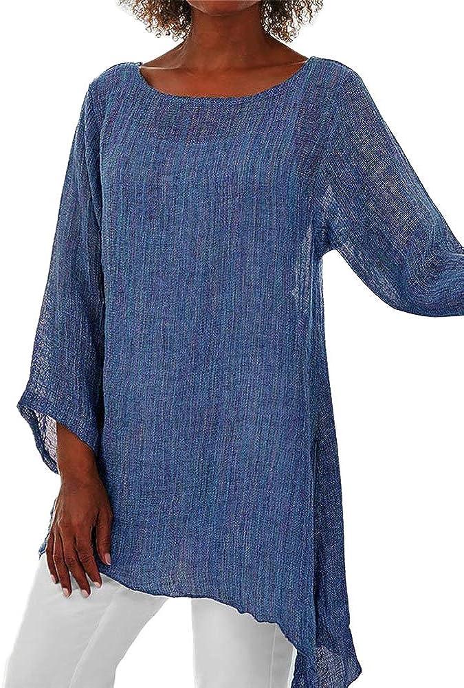 Camisas y Blusas para Mujer Camisa de cáñamo de algodón ...
