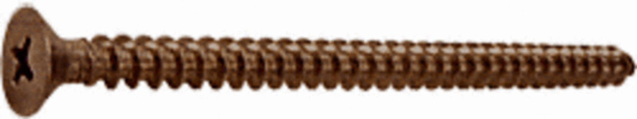 CRL Antique Bronze #10 x 3'' Wall Mounting Flat Head Phillips Sheet Metal Screw - Package