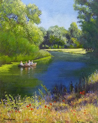 boating-fun-25cmx20cm-river-in-summer-painting-family-fun-row-boat-dedham-vale