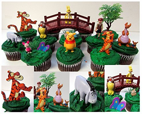 DISNEY WINNIE THE POOH 16 Piece Birthday CUPCAKE Topper Set Featuring Winnie the Pooh Piglet Eeyore Kanga Roo Tigger Owl Rabbit and Christopher Robin Themed Decorative Accessories Figures Average 12 to 2 12 Tall