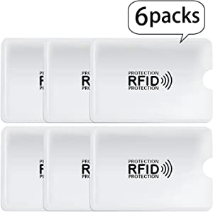 RFID Blocking Sleeves Credit Card Holder,6 Set-Premium Identity Theft Protection-Smart Slim Design fits Wallet/Purse
