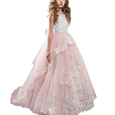 Flower Girls Lace Applique Dresses Kids Tulle Lace Spliced Embroidered Princess Dress Wedding Bridesmaid Birthday Evening