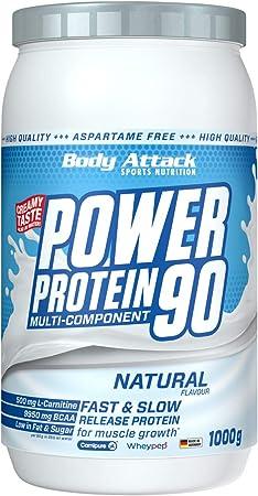 Body Attack Power Protein 90, Neutral, 1 kg, 5 K de proteína en polvo con proteína de suero, L-carnitina y BCAA para el desarollo de los músculos y el ...