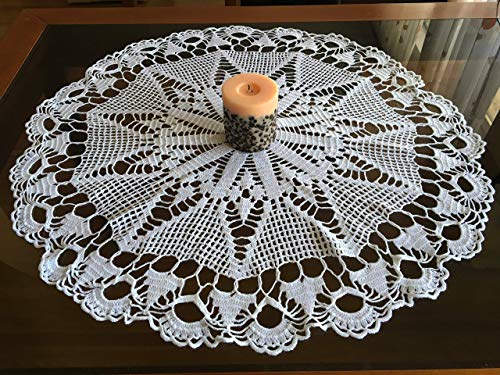 Crochet Lace Vintage Decoration Handmade White Embroidery Tableware Traditional Bulgarian Folk Art Round Linen Table Runners Topper Cover Cotton Doilies Gift for Mom Gift for Bride ()