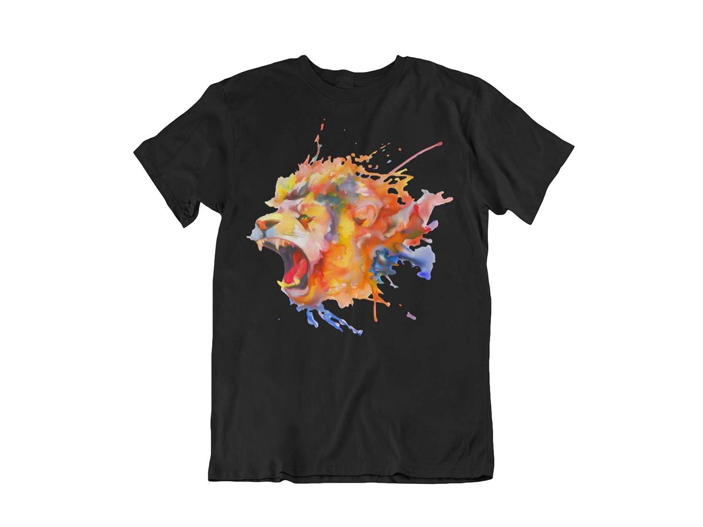 Mens Short Sleeve Colorful Lion Head Printed T-Shirt