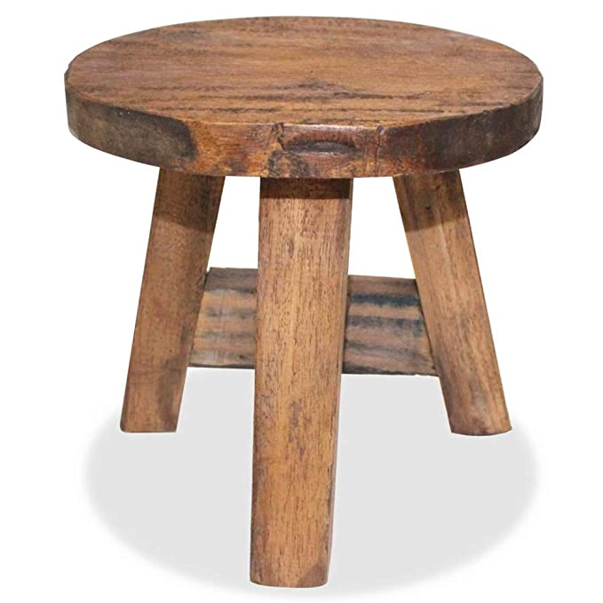 BLUECC Small Stool 100% Solid Reclaimed Wood Dench Home Decor (Style 2)