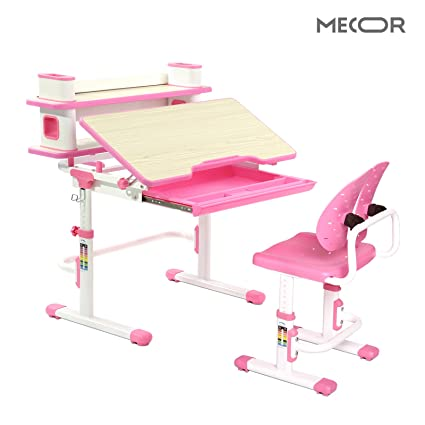 Magnificent Mecor Kids Desk With Chair Set Ergonomic Winged Backrest Children Student Sturdy Table W Book Shelf Sliding Drawer Storage Pink Gmtry Best Dining Table And Chair Ideas Images Gmtryco