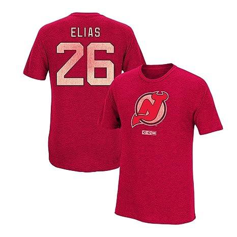 newest e8d49 ca496 Amazon.com : CCM Patrik Elias New Jersey Devils Team Logo ...