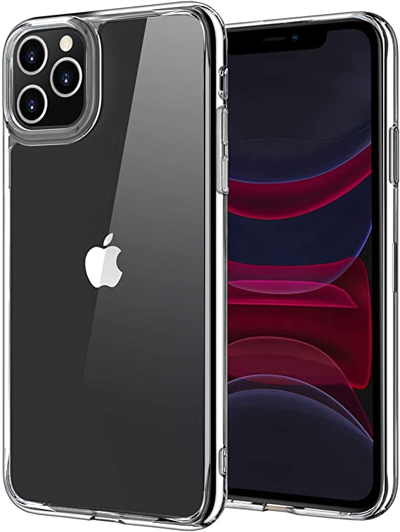 Compatible withiPhone 11 Pro Case, 9H Tempered Glass Shock Absorption Anti-Scratch Mimics Shockproof Glass Back of iPhone Support Wireless Charging Cover 5.8 inch Crystal Clear (Clear)