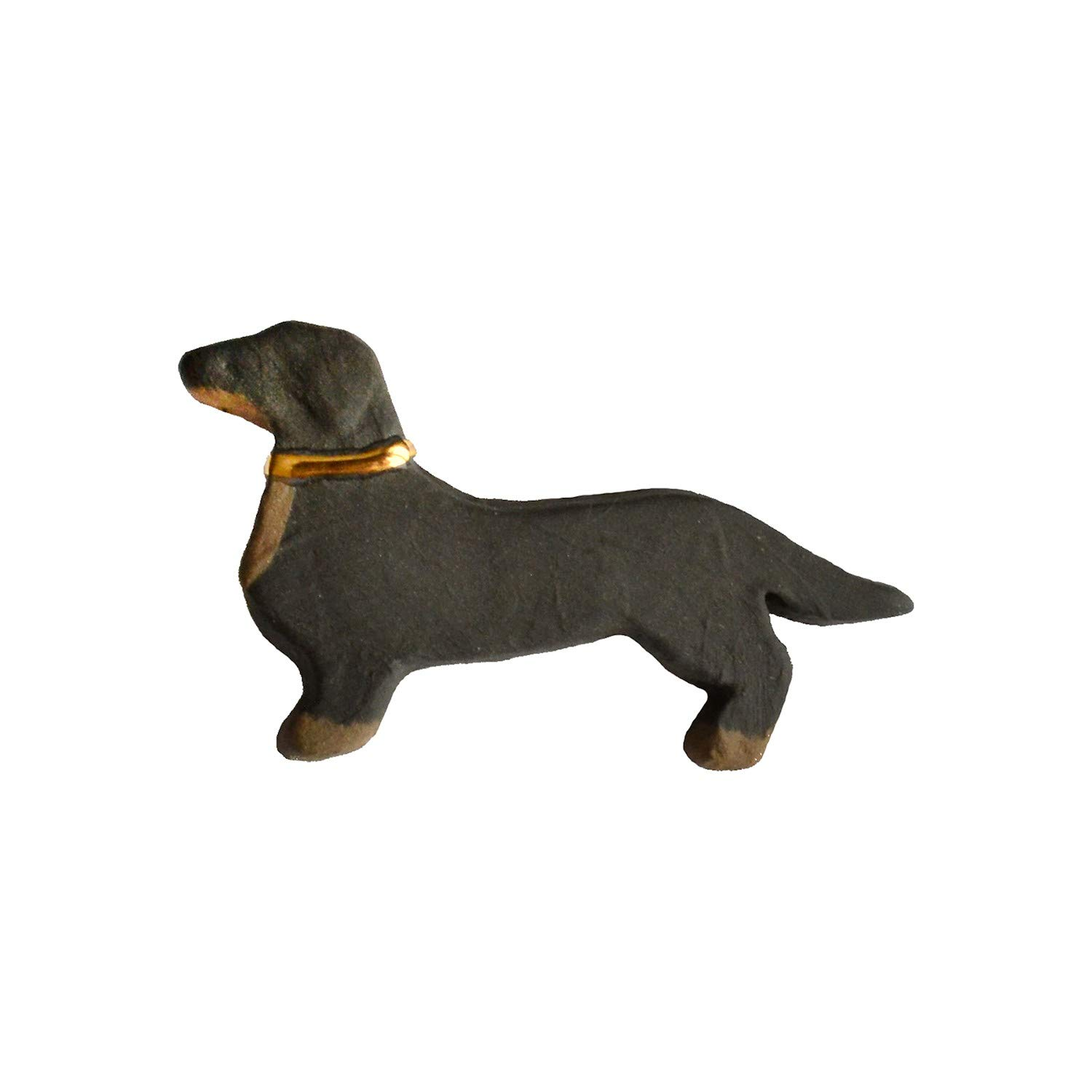 FLORIANA Women's Ceramic Dachshund Weiner Dog Brooch - Black with Gold Luster