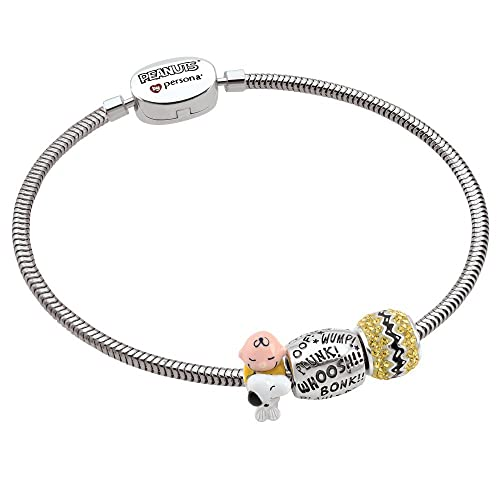 2c6b6c2cc ... Persona Sterling Silver Peanuts Charlie Brown and Snoopy 3 Beads Charm  Bracelet ...