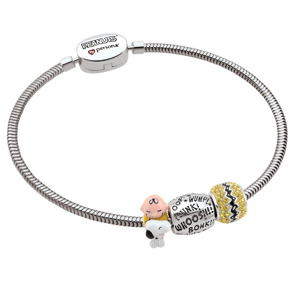 Persona Sterling Silver Peanuts Charlie Brown and Snoopy 3 Beads Charm Bracelet