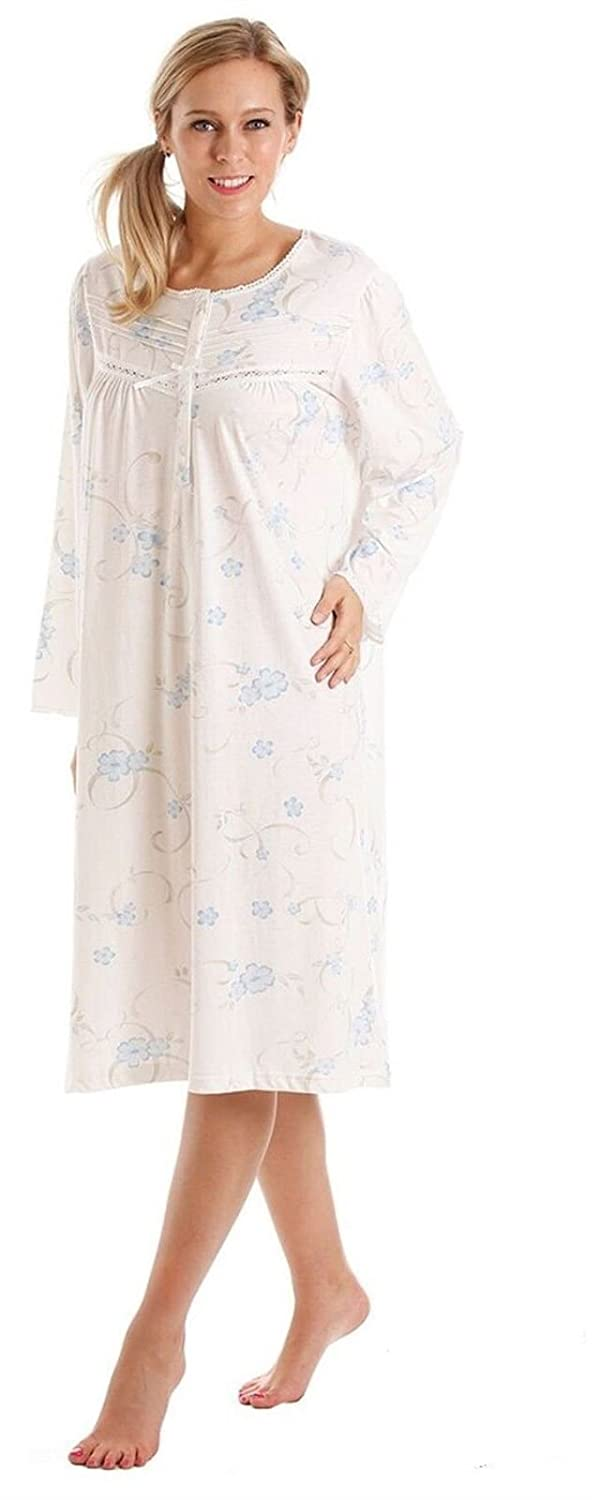 Ladies Floral Jersey Cotton Rich Nightie Nightdress Nightshirt   Pyjamas -  Available in sizes 10-36  Amazon.co.uk  Clothing 2b5f5a80d