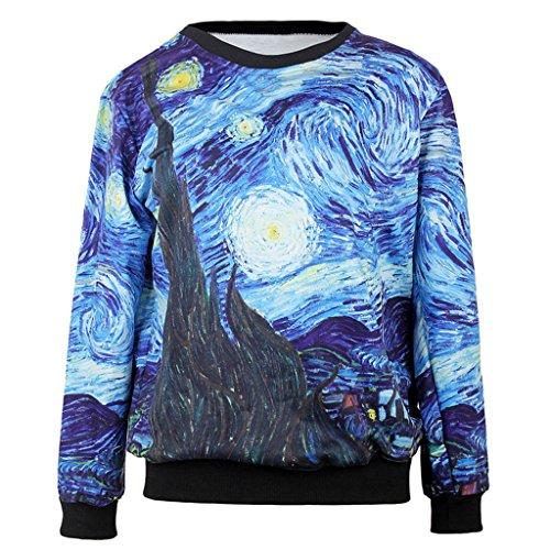 Top Frauen Beliebte Van Gogh Sternennacht Pullover Ölgemälde Pullover Rundhalsausschnitt