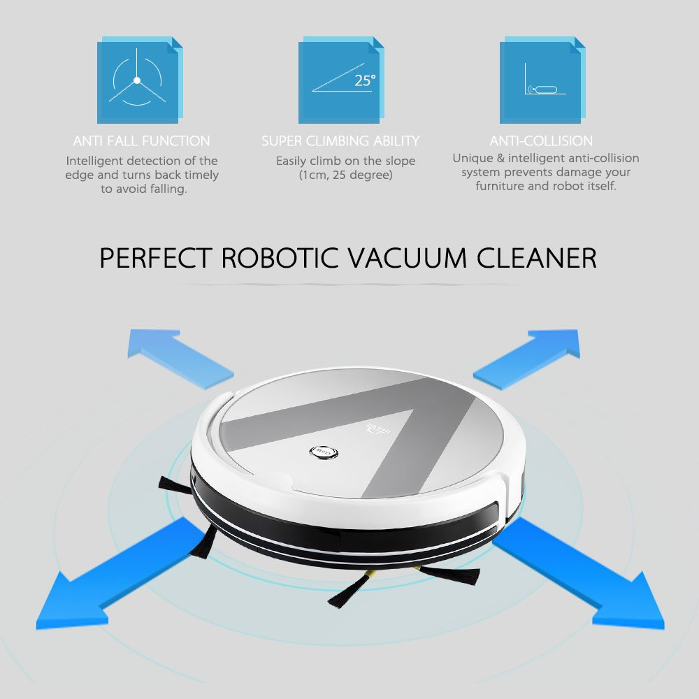 decdeal imass A3 _ V Robot aspirador con función limpiadora, 6, 1200 PA Potencia de tiempo de unidad, 120 min, anti kollisions de limpieza y farallón ...
