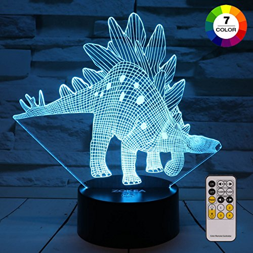 ZOKEA Night Light 3D lamp 7 Colors Changing LED Nightlight with Smart Touch & Remote Control 3D Night Lights for Kids or as Gifts for Women Kids Girls Boys (Dinosaur Stegosaurus) by ZOKEA