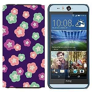 TECHCASE---Cubierta de la caja de protección para la piel dura ** HTC Desire Eye ( M910x ) ** --estampado de flores de color rosa púrpura rojo rosa