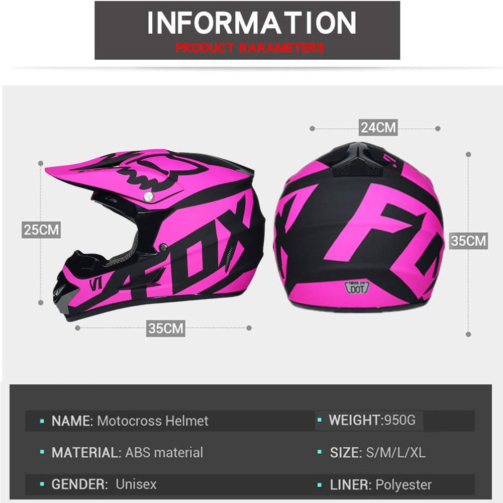 Motorradhelm DH Enduro Downhill Dirt Bikes ATV MTB BMX Quad Motorrad Offroad-Helm f/ür Erwachsene M/änner Frauen LEENY Motocross Helm Herren Crosshelm mit Brille Handschuhe Maske