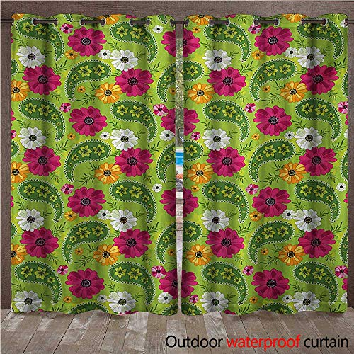 Pergola Cabana Floral Pattern with Vivid Paisley Print Old Vintage Boho Style PrintW108 x L96 Pistachio Pink Orange ()