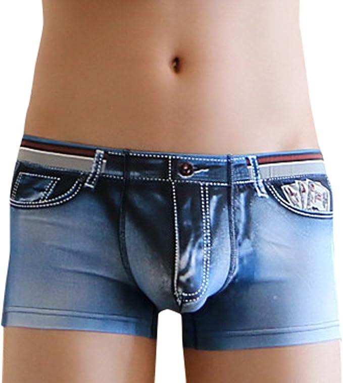 Mens Underwear Men Underwear Boxer Mens Boxers Print Imitation Denim Boxer Shorts Man Panties Homme