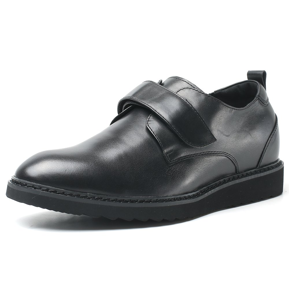 CHAMARIPA zapatos Que Aumentan la Altura de Cuero Ascensor para Hombre Suede Hidden Heel Taller-H81C20D181D negro