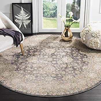 Safavieh Sofia Collection SOF330B Vintage Light Grey and Beige Distressed Round Area Rug (6'7