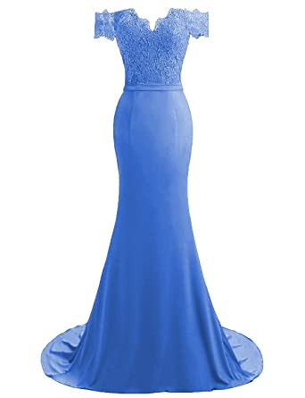 ad0e25bc585e HEIMO Women's V-Neck Mermaid Evening Party Gowns Appliques Formal Prom  Dresses Long H115 0