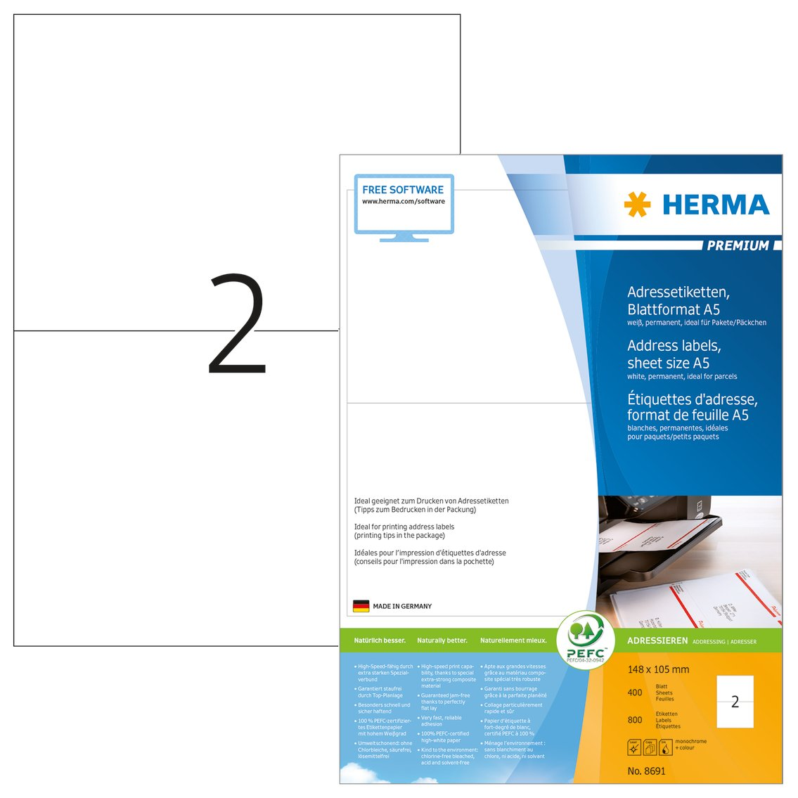 HERMA 8691 Bianco etichetta per corrispondenza