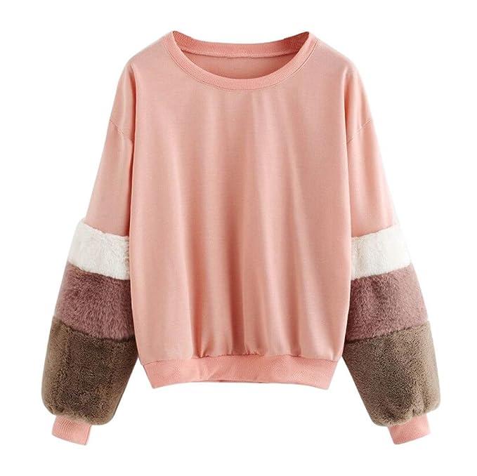 Mujer Sudadera Primavera 2018 Fossen Moda Mujer Camiseta Manga Larga de Felpa Blusa Tops: Amazon.es: Ropa y accesorios