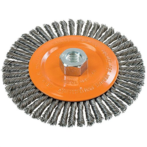 Walter 13K604 Stringer Bead Wire Wheel Brush - 6 in. Carbon Steel Wire Brush with Threaded Hole. Abrasive Power Brushes